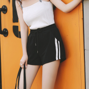 2017 new loose Korean thin wide leg shorts female Summer Black waisted all-match student leisure pants