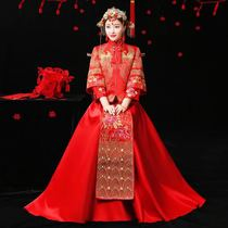 2017 new show Wo Chinese wedding dress bride wedding toast wedding suits costume Dragon gown long dress