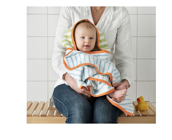 IKEA Beijing baby, children with cap, bath towel, baby towel, pure cotton