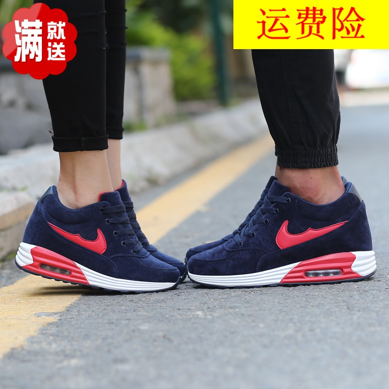 Spring season invisible increase in sports shoes, female net face, 8cm Korean version of air cushion, students running shoes, men 34 couples