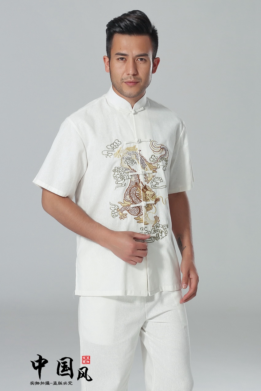 Folk style summer costume Hanfu Men Costume Short Sleeved Shirt Short Sleeved white coat embroidered dragon fashion style