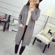 2017 spring long Cardigan new large code female Korean student loose knit sweater coat sweaters in the fall wave