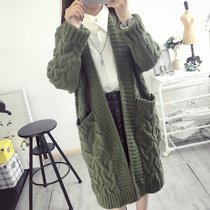Fat MM2017 in spring and autumn the new ultra plus size ladies long Cardigan pockets sweater coat 200 pound surges