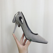 Korean shoes, fashionable spring and autumn, new sandals, pointed high heels, fine heel, bow tie, women's shoes, PU