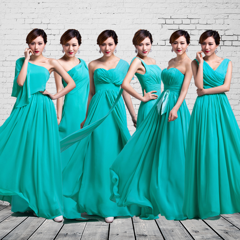 The new 2016 tiffany blue sisters bridesmaid dresses long skirt bridesmaids qiu dong the bride wedding dress bridesmaid dresses