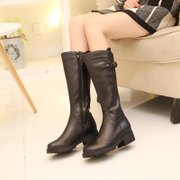 MAJIQIEK/ Majini 2016 leather high-heeled boots with thick boots and cashmere Biker boots boots