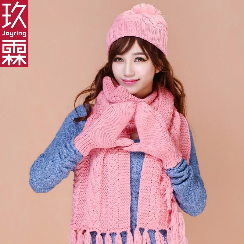 The new Korean version of thickening, cashmere, warm knitting wool, hats, scarves, gloves, female winter, three sets of one
