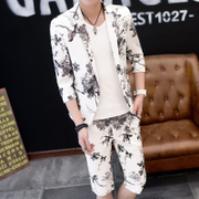 Summer, seven points, sleeve suit, young men, self-cultivation printing, handsome sleeve, small suit, trend short sleeved, two sets
