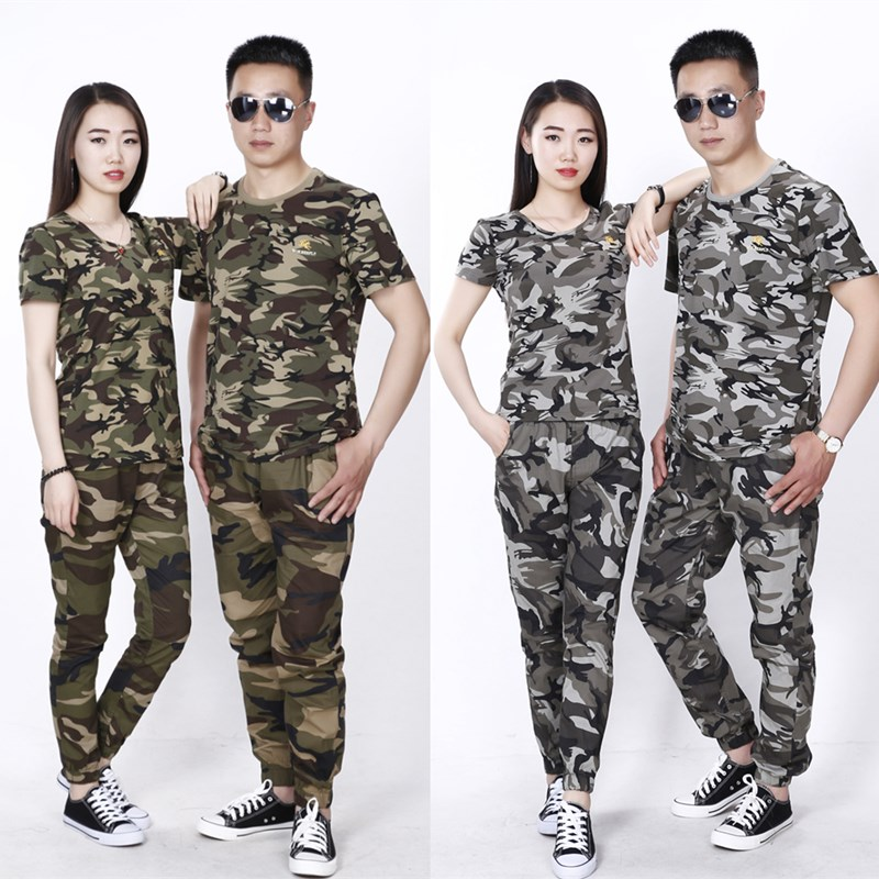 Camouflage, summer men's and women's military training, summer camp, short sleeved camouflage clothing, army training, clothing, digital fans, cotton