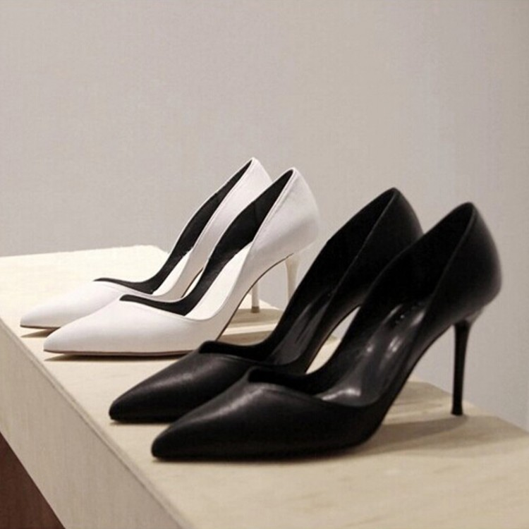 Four new high heel pointy stiletto black commuters in Europe and America professional shoes asakuchi autumn leather shoes women's shoes women