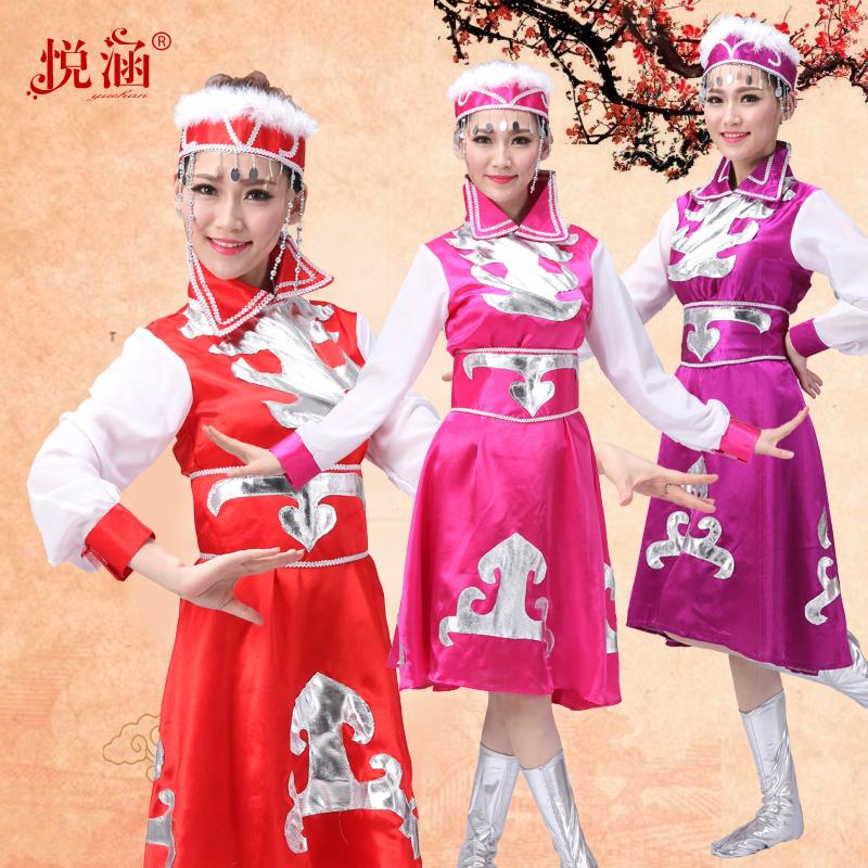 悦涵新款蒙古族演出服蒙古袍蒙古族舞蹈演出服蒙古族服装女表演服