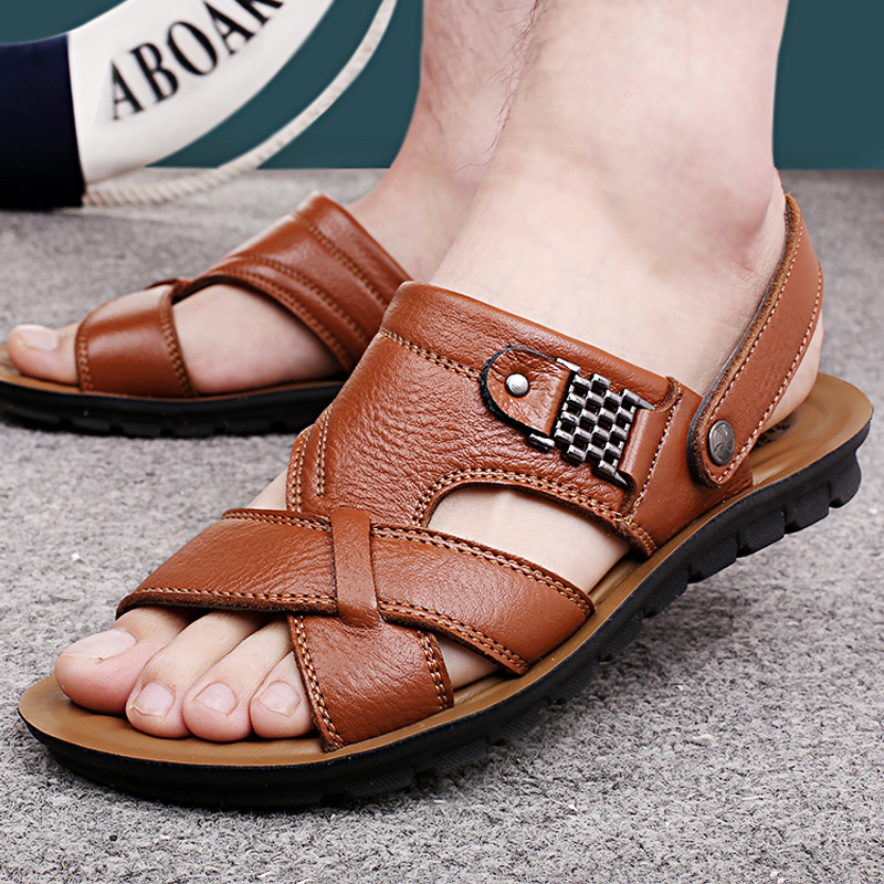 Men's summer middle-aged male sandals men's leather sandals slippers shoes shoes breathable male Korean father