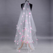 Shipping bride 3 meters long veil wedding dress tail veil headdress pink petals new Korean
