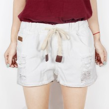 Genuine track drawstring denim shorts female Korean spring crimping loose fat code mm wide legs worn shorts hole