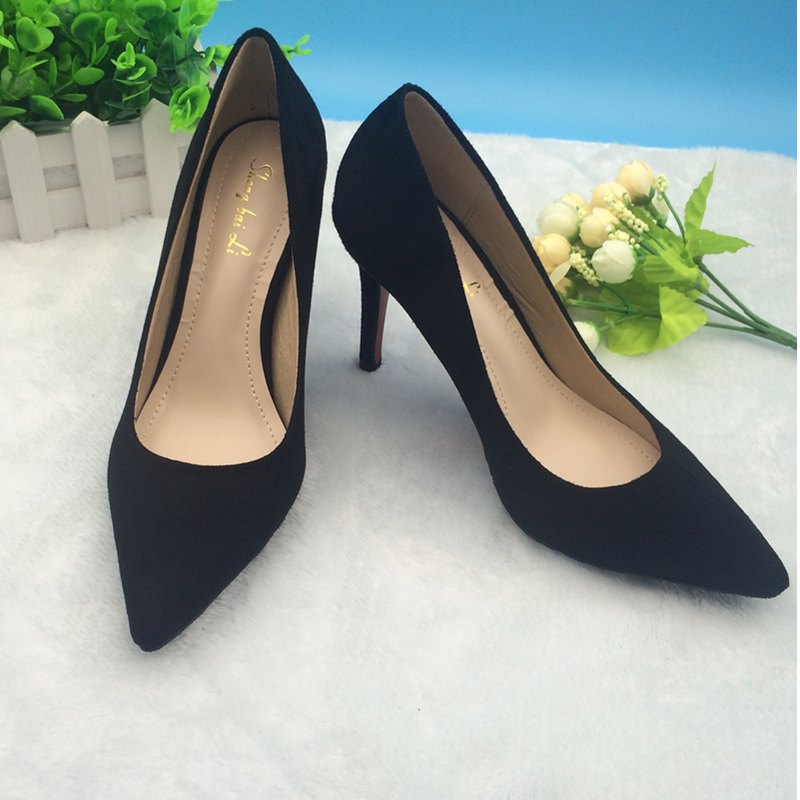 15 new Korean sweet asakuchi seasons flannel pointed high heel stiletto shoes women's shoes nude black work shoes