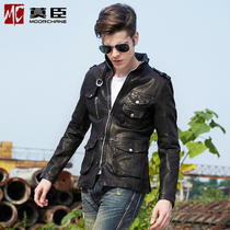Mens leather leather leather slim short spring and autumn in Europe and America rock Korean character leather motorcycle jacket