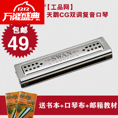 Shipping specials promotional authentic Swan 24 hole double CG double adjustable professional senior adult teaching playing harmonica