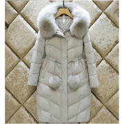 The anti season clearance big fur fashion jacket girls long slim slim knee Korean winter coat