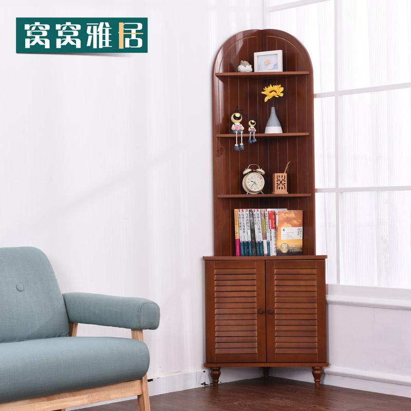 客厅三角柜实木简约墙角柜扇形置物架转角柜实木浴室落地带门边柜