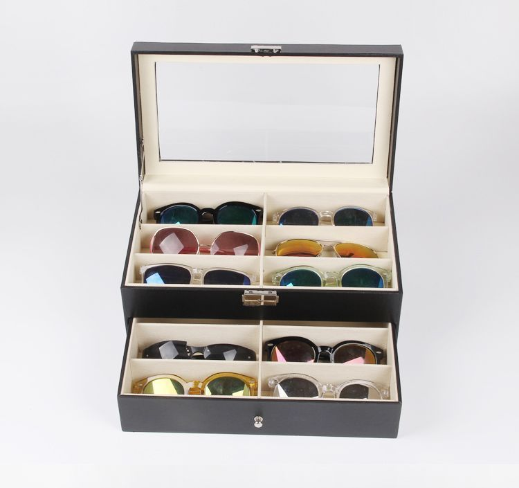 High grade leather glasses box 12 lattice display box. Post female sunglasses sunglasses