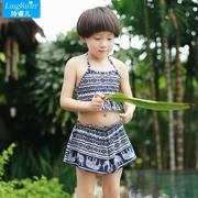 Children's parent-child split three female swimsuit swimsuit bikinis four spa swimming suit a conservative blouse