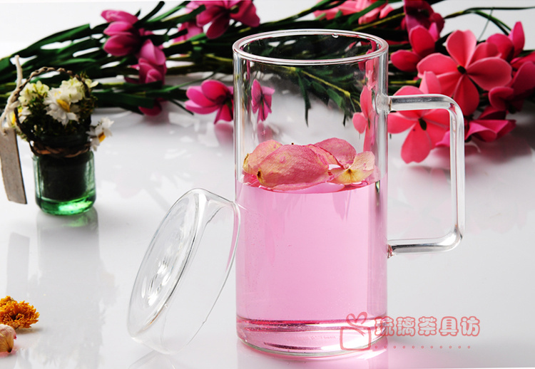 650ML lazy bulk glass Tea Cup with lid with glass handmade transparent Pyrex glass Tea Cup
