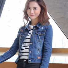 2017, spring and autumn wear cowboy coat, women's long sleeved short jacket, cowboy blouse, Korean style jeans, stretch 8802