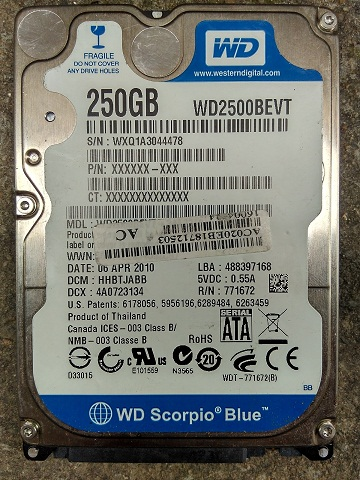 Used serial split 2.5-inch notebook hard drive SATA/2.5 inch 250g special 981