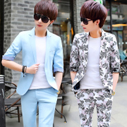 Summer sleeve suit, male Korean version, young student hair stylist tide, two sets of thin, Slim small suit