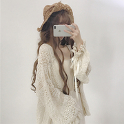 The autumn wind small fresh sweet Vintage Chic lace loose Lantern Sleeve in the long sleeved cardigan coat sunscreen