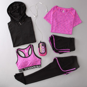Yoga suit, spring and summer fitness suit, four or five sets of sports suit, women's gym, jogging suit, vest, trousers