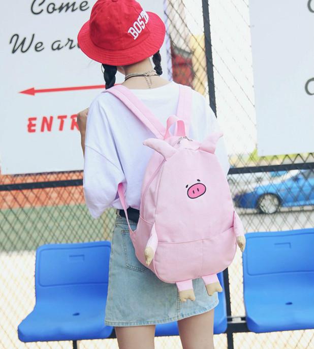 日系原宿风软妹书包女学生休闲中学可爱卡通萌猪旅行双肩电脑背包