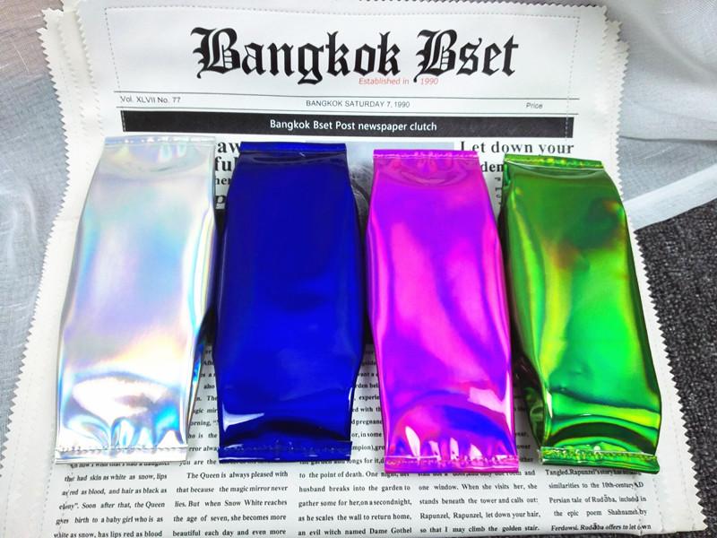 韩国原宿风新款糖果色镭射笔袋个性男女学生反光潮酷手机零钱包