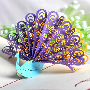 韩国创意祝福孔雀开屏手工3d立体贺卡 送朋友同事节日礼物纸雕