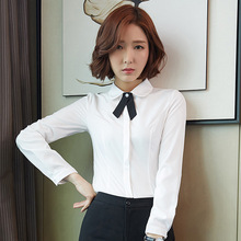 Long sleeved white shirt slim female occupation tooling Korean fan OL shirt shirt dress 2017 new autumn.