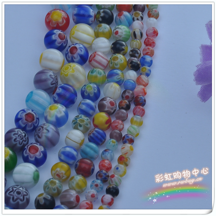 4/6/8/10/12MM/ series glass beads beads scattered thousands of flowers mixed color DIY handmade jewelry accessories wholesale