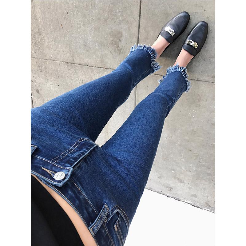 林珊珊 2017新款夏韩版高腰黑色复古显瘦九分牛仔微喇叭裤女潮