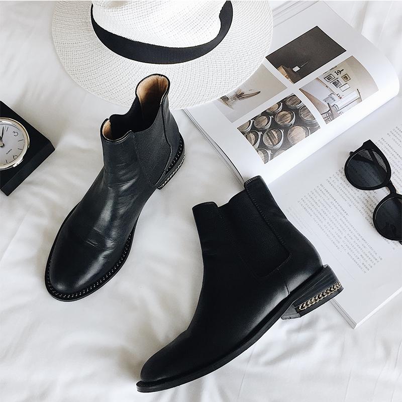 林珊珊 2017秋装新款粗跟短靴女百搭厚底马丁靴圆头英伦风
