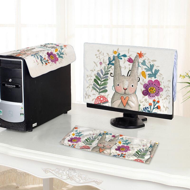 可爱兔子电脑罩套台式电脑罩套一体机液晶显示器键盘罩套防尘罩件