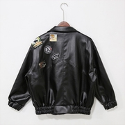 Mr. Cai and autumn and winter clothing leather loose badge locomotive male Korean couple men's leather jacket tide