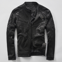 Young man leather sheep skin leather short spring and autumn fashion thin faux leather jacket motorcycle leather jacket men