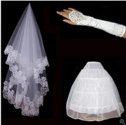 The bride wedding accessories three piece set post lace veil + mittens + white bag mail.