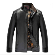 Autumn and winter middle-aged men's leather and cashmere casual jacket daddy set up collar leather jacket middle-aged clothes PU leather clothing