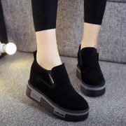 Autumn and winter Carrefour shoes increased cotton shoes thick black sponge cake sports shoes a pedal shoes winter plus cashmere