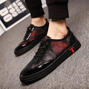 The 2017 men's leather shoes new fall trend of Korean British bright men casual shoes all-match breathable shoes