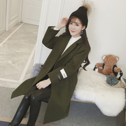 2017 new Korean students in autumn and winter all-match loose little wool coat, long woolen coat