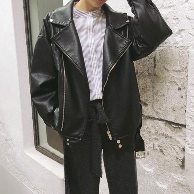 春季新款女装机车翻领哑光PU皮衣宽松显瘦学生百搭夹克开衫短外套