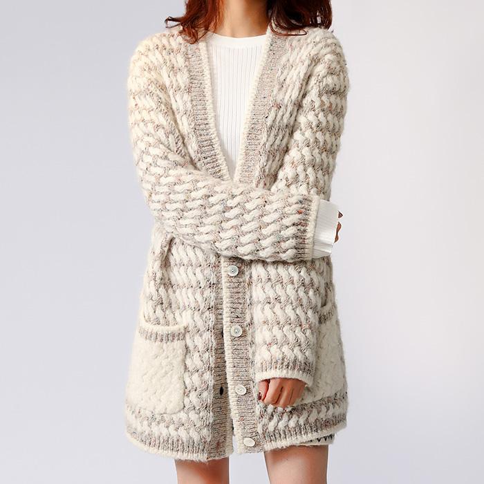 意大利国宝级花式纱线  月光石席编花纱中长款羊毛羊驼毛开衫