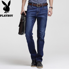 Playboy jeans male summer thin section stretch Slim youth men's straight casual loose pants men's jeans