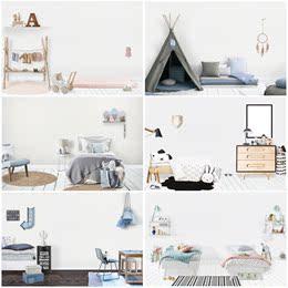 可爱儿童婴儿房相框背景墙纸场景装饰 PSD样机贴图分层设计素材